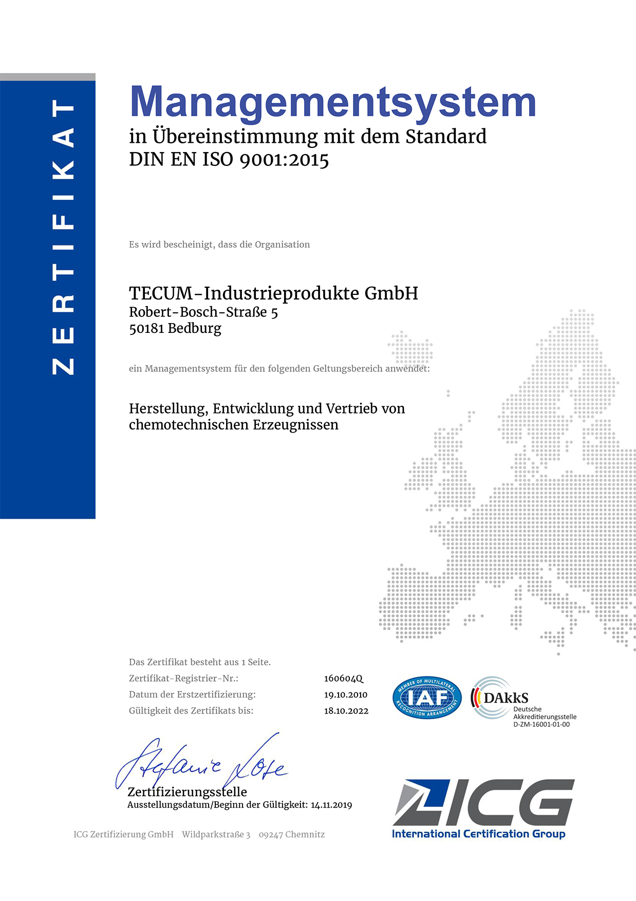 DIN EN ISO 9001 Quality Management System for TECUM GmbH