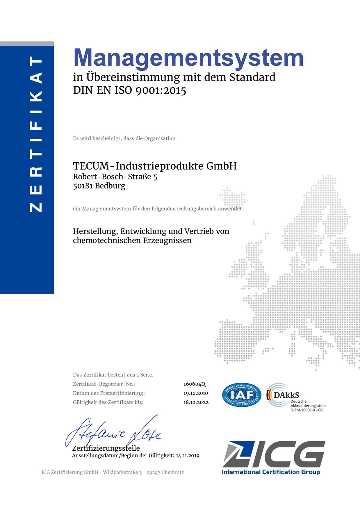 DIN EN ISO 9001 Qualitätsmanagementsystem für die TECUM GmbH
